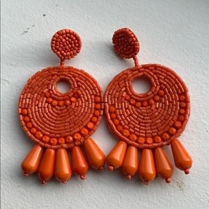 Kenneth Jay Lane orange statement earrings